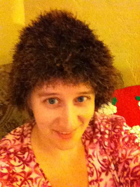 fun fur hat in brown